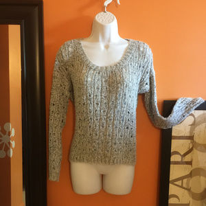 Silver specked open-knit sweater, PIECES BY KENSIE